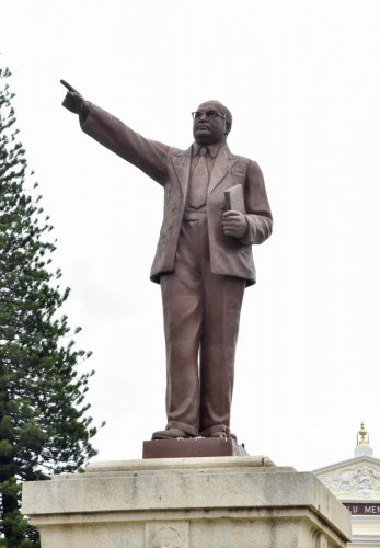 A view of old Ambedkar statue at Town Hall in Mysuru on Sunday. -Photo by Savitha. B R