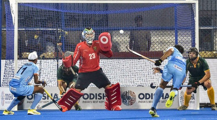 Bhubaneswar: India's Mandeep Singh (in blue) attempts a goal during their match against South Africa for Men's Hockey World Cup 2018, in Bhubaneswar, Wednesday, Nov. 28, 2018. (PTI Photo/Ashok Bhaumik) (PTI11_28_2018_000226B)