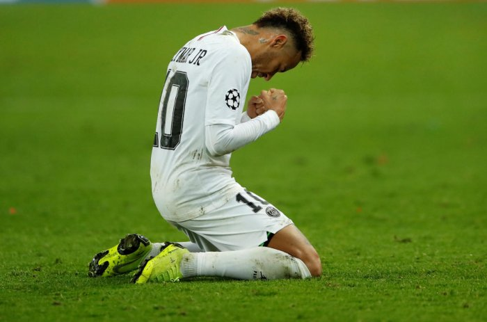 Paris St Germain's Neymar celebrates at the end of the match against Liverpool. (Reuters Photo)