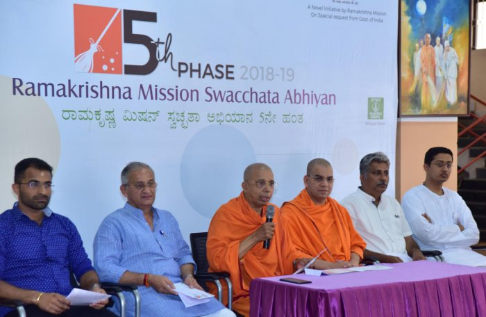Ramakrishna Mission Mangaluru Secretary Swami Jitakamananda speaks at a press meet on the final phase of Swaccha Mangaluru Abhiyan.