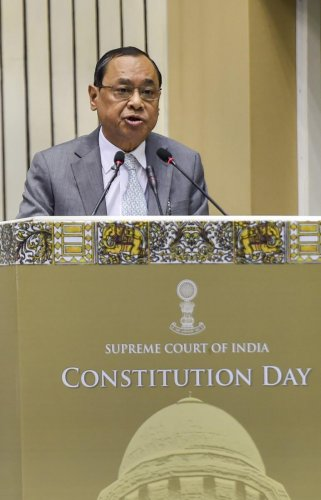Chief Justice of India Ranjan Gogoi addresses the inaugural function of Constitution Day celebrations, in New Delhi, Monday, Nov. 26, 2018. (PTI Photo)