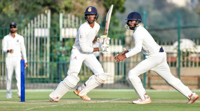 Karnataka's Devdutt Padikkal in action during his unbeaten knock of 33 against Maharashtra in the Ranji Trophy match in Mysuru on Friday. DH Photo/ Savitha B R