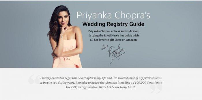 Movie star Priyanka Chopra, set to marry soon, is promoting the idea of wedding registries.