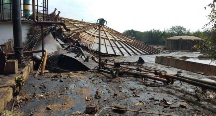 Chemical mixed water from a factory boiler that collapsed at a sugar factory near Maddur, on Tuesday, has destroyed over 100 acres of farmland and injured a factory employee. It is learnt that the boiler was damaged but not replaced.   DH photo