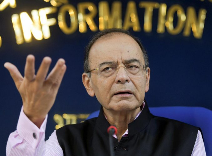Finance Minister Arun Jaitley addresses a press conference on Cabinet meeting, in New Delhi, on Thursday. PTI