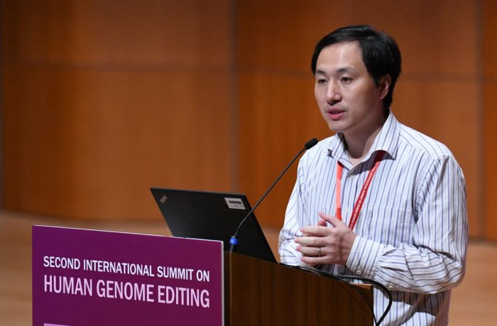 Chinese scientist He Jiankui speaks at the Second International Summit on Human Genome Editing in Hong Kong on November 28, 2018. AFP