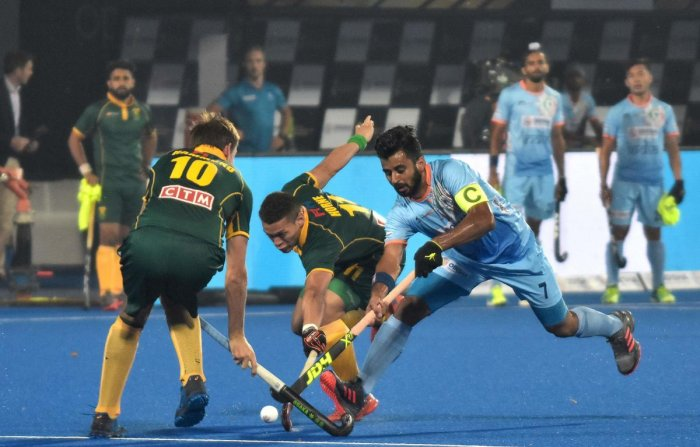 ALL SET: Indian skipper Manpreet Singh (right) will look to lead from the front against Belgium in their Pool C encounter in Bhubaneswar on Sunday. AFP File Photo