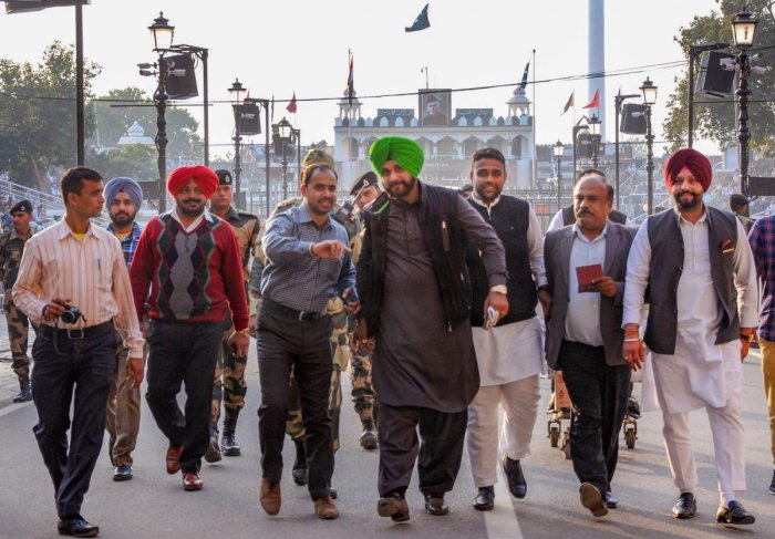 Punjab Cabinet Minister Navjot Singh Sidhu arrives after attending the groundbreaking ceremony for the Kartarpur Corridor, at the India-Pakistan Wagah Post, about 35km from Amritsar, Thursday, Nov. 29, 2018. (PTI Photo)