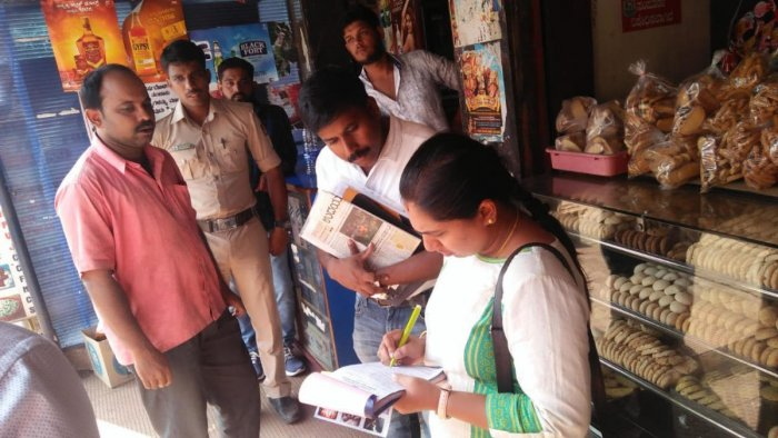 District tobacco control cell vigilance squad members carry out a drive to check the violation of COTPA in Mangaluru.