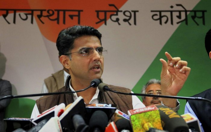 """Congress leader Sachin Pilot on Sunday said people of Rajasthan will vote out the BJP in the Dec 7 polls due to the """"misrule"""" of the Vasundhara Raje government, which had failed to curb inflation and corruption. PTI file photo"""
