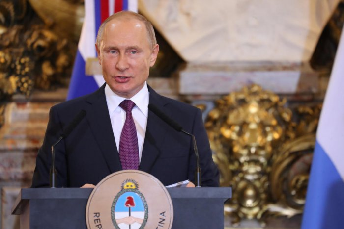 Russia's President Vladimir Putin speaks during a joint news conference with Argentina's President Mauricio Macri at the Casa Rosada Presidential Palace in Buenos Aires, Argentina December 1, 2018. (REUTERS Photo)