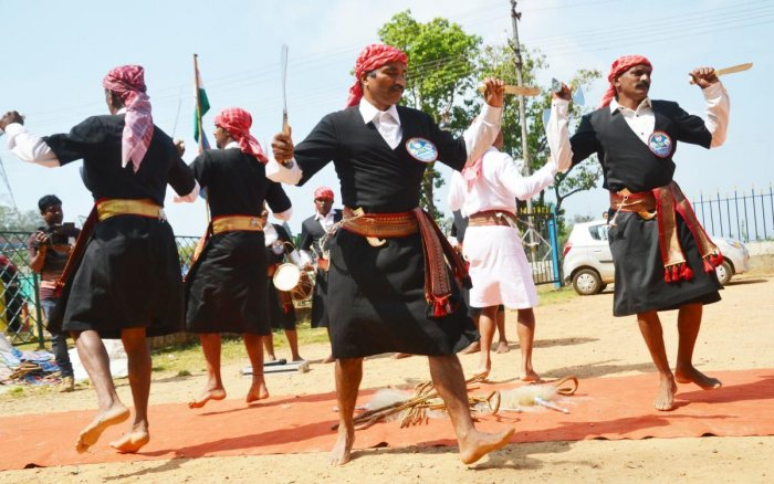 Kodavas take part in a programme as a part of the Kodava National Day observed by the Codava National Council in Madikeri on Sunday.