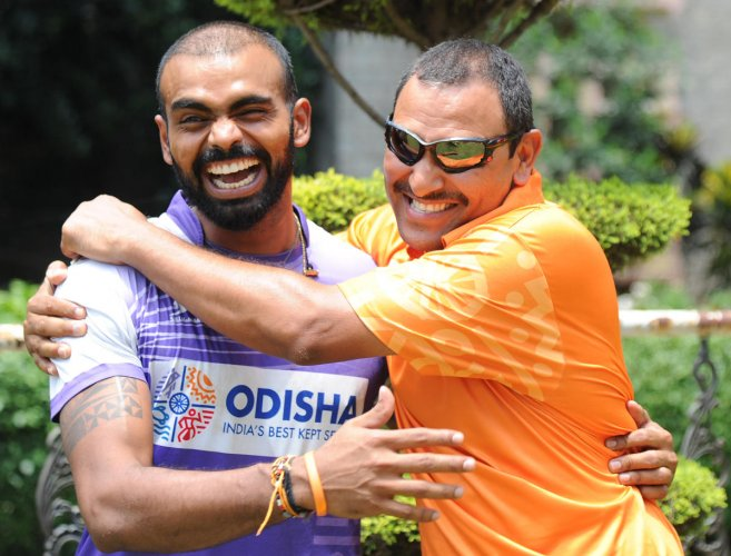 GREAT CAMARADERIE PR Sreejesh (left) hailed the appointment of Harendra Singh as the coach of the men's team. DH PHOTO/ SRIKANTA SHARMA R