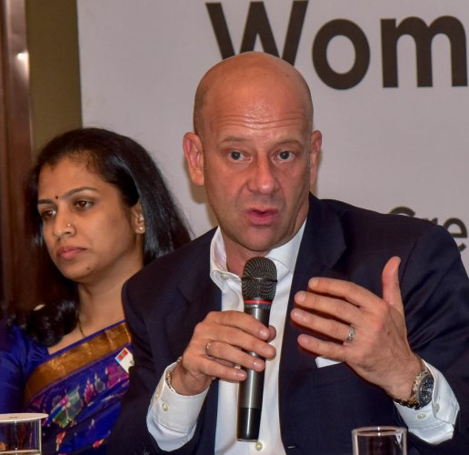 Yuri Afanasiev, UN Resident Coordinator, addressing at the press meet on Business Forum, the New financial Instrument for Women entrepreneurs, organised by United Nations in India and NITI Aayoga, at Shangri-la hotel in Bengaluru on Thursday 07.06.2018. D
