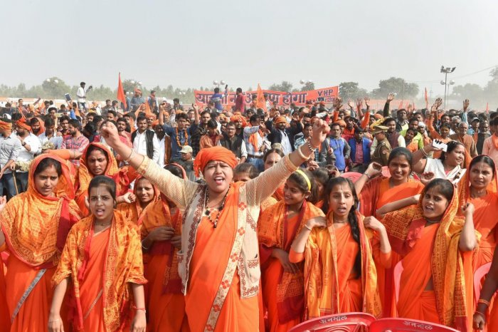 Sadhvis participate in `Dharam Sabha' in Ayodhya. PTI file photo