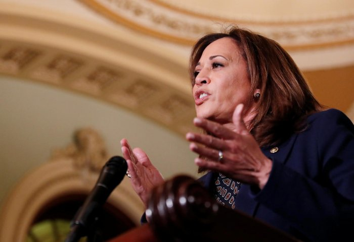 Senator Harris addresses Capitol Hill reporters after Senate Democratic weekly policy lunch in Washington. Reuters file photo.