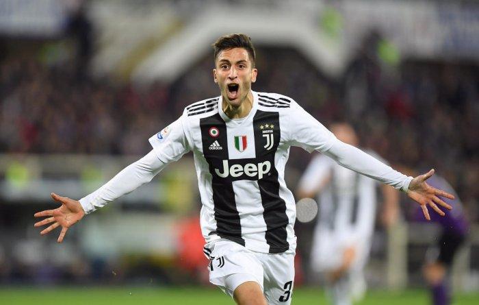 Juventus' Rodrigo Bentancur celebrates scoring their first goal against Fiorentina on Saturday. REUTERS