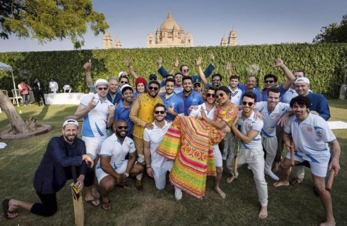 Newlyweds Priyanka Chopra and Nick Jonas with their family and friends at Umaid Bhawan in Jodhpur. PTI Photo