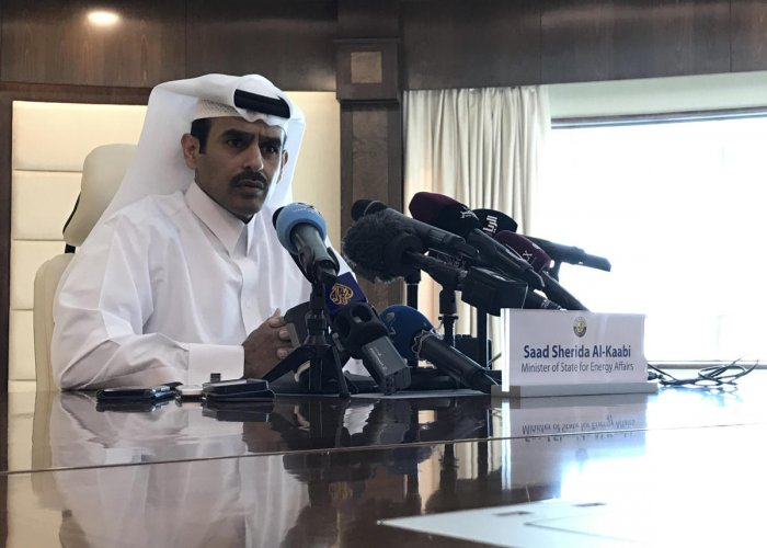 Saad Sherida Al-Kaabi, Qatari Minister of State for Energy Affairs, speaks during a press conference in the capital Doha. AFP