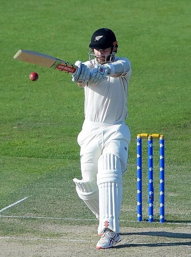 FETCH THAT!: New Zealand's Kane Williamson pulls one during his plays a shot during his knock of 89 against Pakistan on Monday. AFP