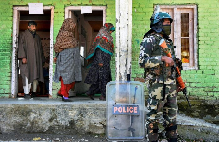 """The officials said 892 polling stations have been categorised as """"hypersensitive"""" in this phase, including 428 in Kashmir division and 464 in Jammu division. (PTI file photo)"""