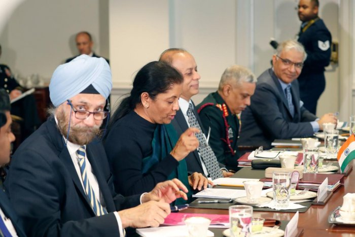 Defence Minister of India Nirmala Sitharaman (C) speaks during a meeting with US Defense Secretary Jim Mattis at the Pentagon in Washington, DC on December 3, 2018. (AFP Photo)