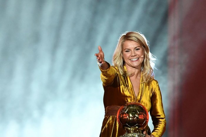 HISTORIC: Ada Hegerberg gestures after receiving the FIFA Women's Ballon d'Or award for best player of the year in Paris on Monday. AFP