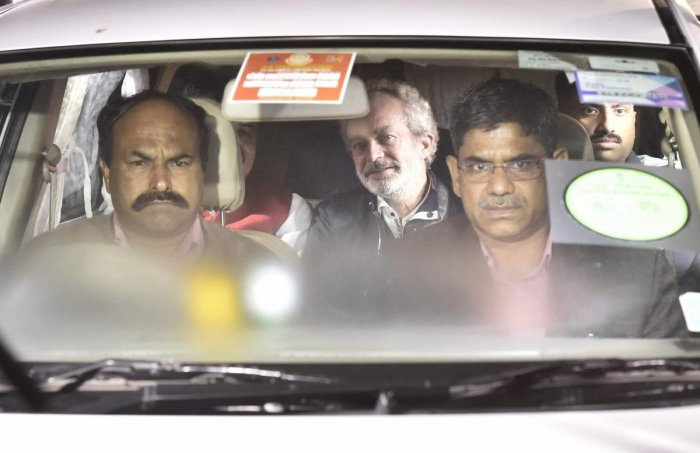 Agusta Westland scam accused middleman Michel Christian at CBI headquarters in New Delhi, on early Wednesday, Dec. 5, 2018. (PTI Photo)