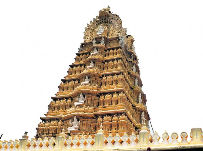 A view of Chamundeshwari temple gopura in Mysuru. Services in the historic temple and 23 other shrines managed by the Chamundeshwari Temple Board may be affected from Dec 14 as the priests and other staff have planned indefinite stir, pressing fulfilment