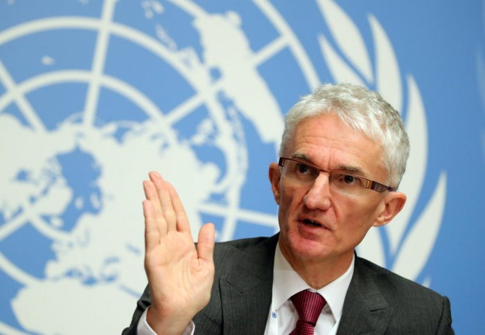 """UN Under-Secretary-General for Humanitarian Affairs and Emergency Relief Coordinator (OCHA) Mark Lowcock attends a news conference for the launch of the """"Global Humanitarian Overview 2019"""" at the United Nations in Geneva, Switzerland. (REUTERS)"""