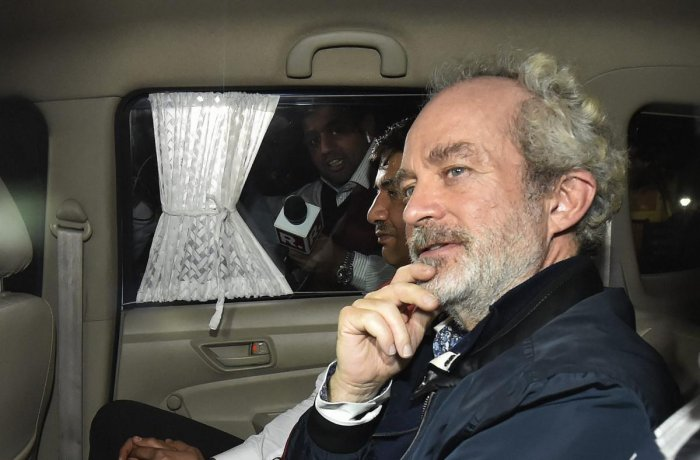 Agusta Westland scam accused middleman Michel Christian at CBI headquarters in New Delhi, on early Wednesday. (PTI Photo)