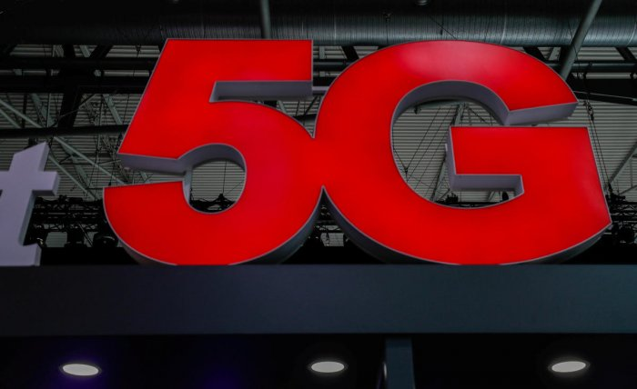 A 5G sign is seen during the Mobile World Congress in Barcelona, Spain February 28, 2018. REUTERS