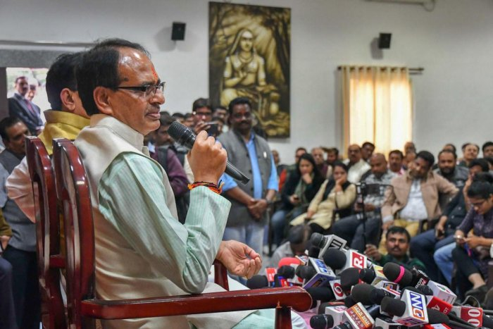 Madhya Pradesh Chief Minister Shivraj Singh Chouhan addresses a press conference at his residence, in Bhopal, on Wednesday. PTI
