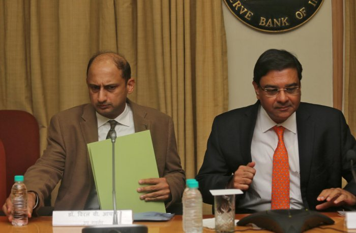 The Reserve Bank of India (RBI) Governor Urjit Patel and Deputy Governor Viral Acharya (L). Reuters Photo