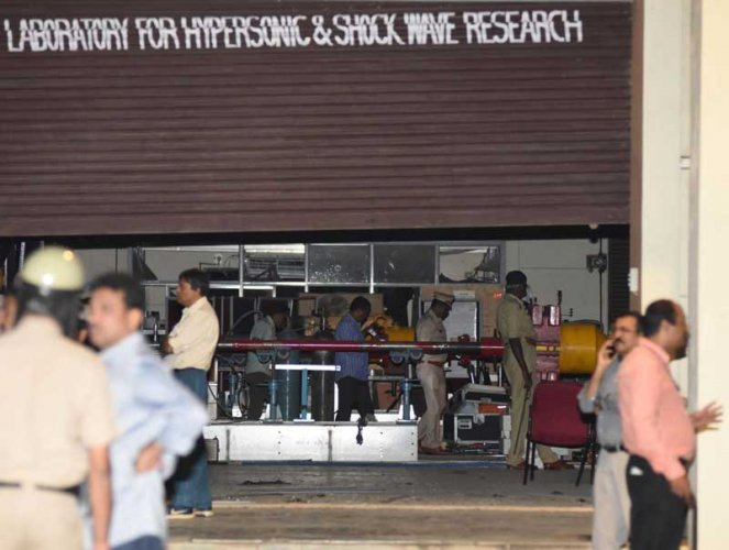 The scene of the explosion at an IISc lab. (DH photo/Janardhan B K)