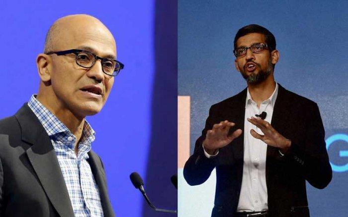Microsoft  CEO Satya Nadella and Google CEO Sunder Pichai.  (Reuters, PTI photos)