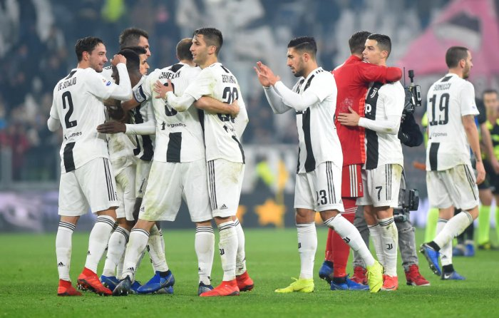 Juventus' Cristiano Ronaldo and teammates celebrate after the match against Inter Milan (REUTERS)