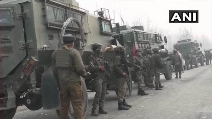 The gunfight broke out in the evening when security forces launched a cordon-and-search-operation (CASO) in Ghat mohalla of Mujgund after inputs about the presence of some militants in the area. ANI Photo.