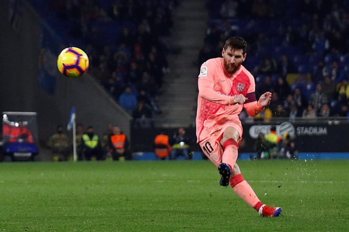 The Argentine superstar curled home two sensational set-pieces and set up another goal as he and his teammates romped to victory at the RCDE Stadium and made sure Barca kept chasing Atletico Madrid and Sevilla at bay. (Reuters photo)
