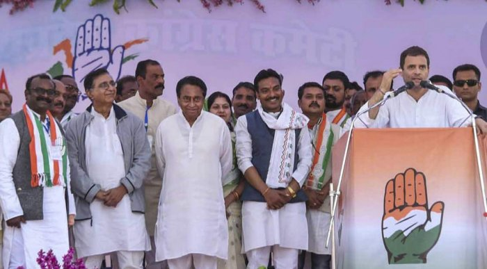 Congress President Rahul Gandhi addresses a public rally at Mahatma Gandhi Stadium Ground ahead of the State Assembly elections, in Mandla district, Friday, Nov. 16, 2018. (PTI File Photo)