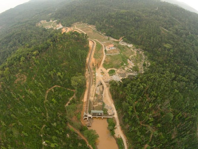 Aerial view of a SHP in the Western Ghats