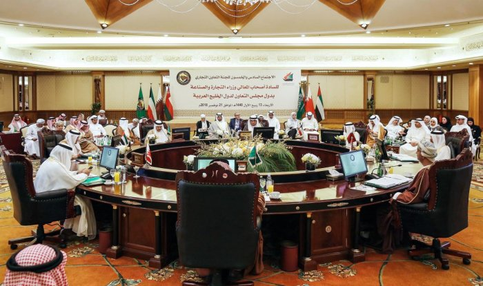 This picture taken on November 21, 2018 shows economic representatives of the Gulf Cooperation Council's (GCC) attending a meeting of the commerce and economic cooperation committee in Kuwait City. (Photo by Yasser Al-Zayyat / AFP)