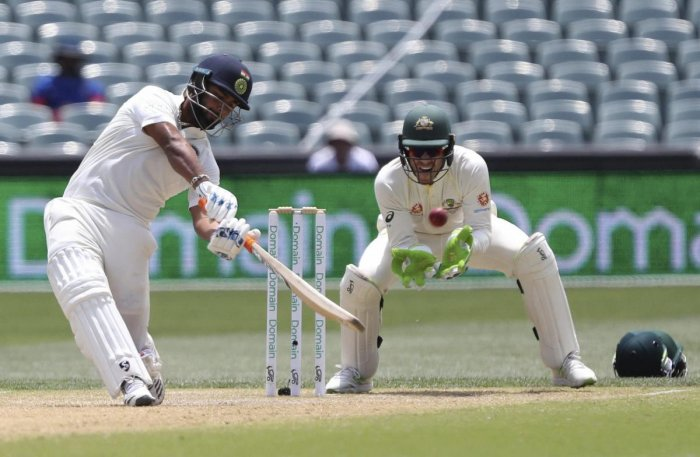 Rishabh Pant hits the ball to be out caught on day four of the first Test on Sunday. AP/ PTI