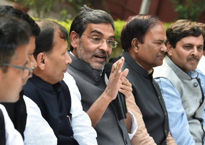 Rashtriya Lok Samata Party (RLSP) chief and Union minister of state for human resource development, Upendra Kushwaha addresses a press conference to announce his resignation from the Union Council of Ministers, at his residence in New Delhi, Monday, Dec. 10, 2018. (PTI Photo)