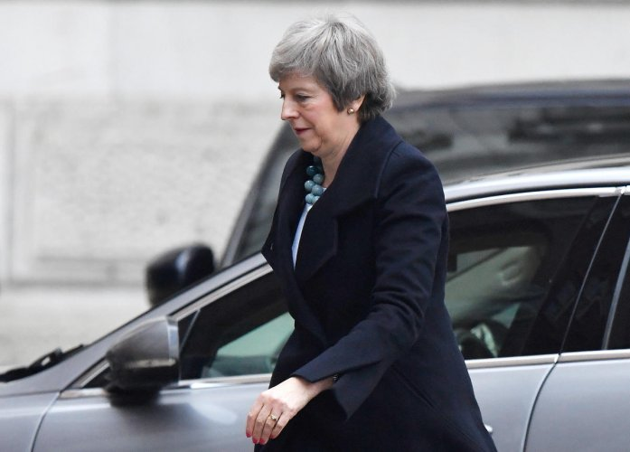 Britain's Prime Minister Theresa May returns to Downing Street in London. Reuters
