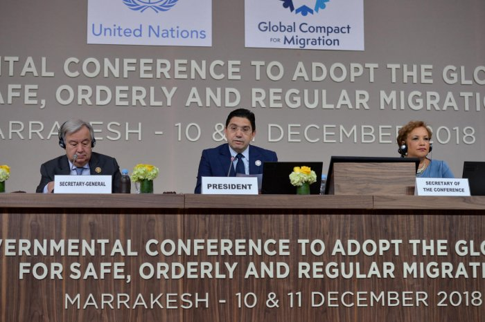 Moroccan foreign minister Nasser Bourita speaks during the Intergovernmental Conference to Adopt the Global Compact for Safe, Orderly and Regular Migration, in Marrakesh, Morocco. Reuters