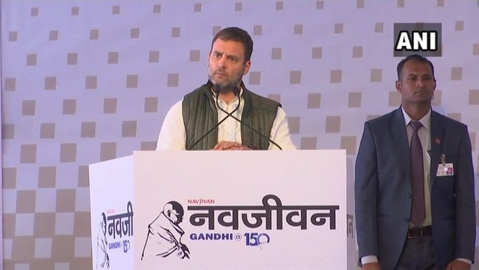 """Gandhi was delivering his address after the Associated Journals Limited (AJL) announced the re-launch of Hindi newspaper """"Navjivan"""".  (Photo credit: Twitter/ANI)"""