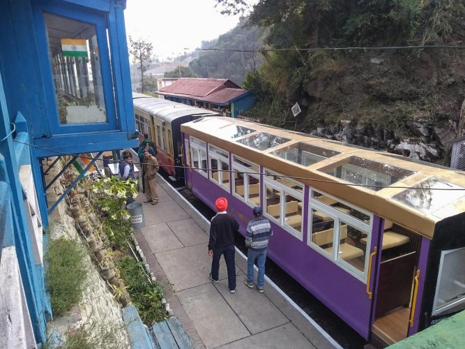 A view of a coach of the railways which is scheduled to run glass-enclosed vistadome coach in Kalka-Shimla route in next 10 days, in Kalka on Saturday. PTI