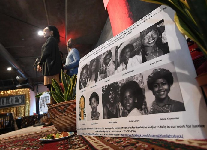 "Organizers read out the names of serial killers victims of Lonnie Franklin known as the ""Grim Sleeper"", Samuel Little and other Los Angeles serial killers at a memorial service in Los Angeles, California on December 8, 2018. - According to the 'Black Coal"