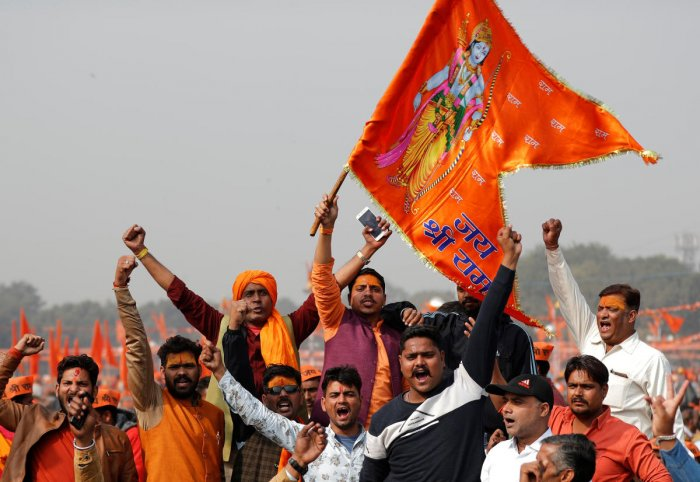 "Supporters of the Vishva Hindu Parishad (VHP) during ""Dharma Sabha"" or a religious congregation organised by the VHP in New Delhi. Reuters PTI File Photo/ representation only"